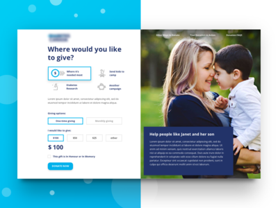 Donation page design donation form multi step ui ux button layout clean minimal icon iconography