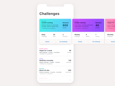 Fitness challenge cards interface iphone x ux ui design points reward progress goal challenge fitness card