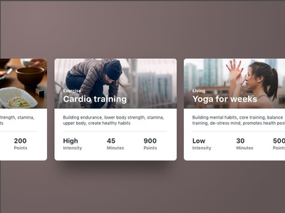 Fitness cards design clean experience points card challenge goals ux ui