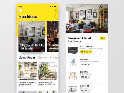 Ikea Ideas dashboard explore shop interior ikea homepage design app cards furniture ux ui