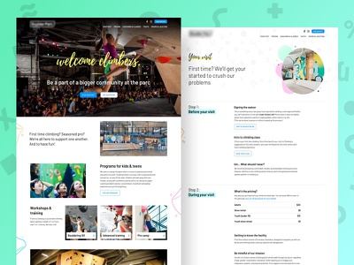 Gym website app health fitness sport vibrant clean colorful ux ui website climbing gym