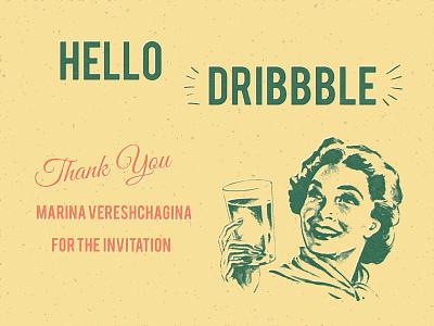 Hello Dribbble vintage illustration vintage art debut illustration hello dribbble