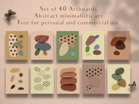 Freebie! Set of 40 artboards with abstract minimalistic art
