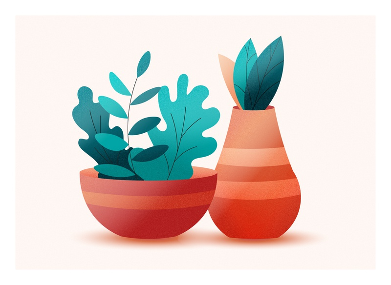 Still life vector illustration simple floral nature vase leaves still life illustration vector