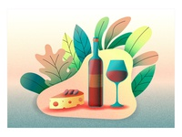 Still life vector illustration wine and cheese