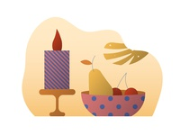 Still life vector illustration Candle, bowl and fruits