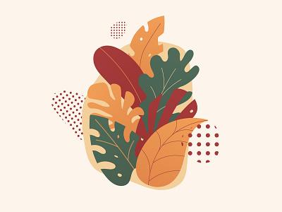Leaves vector illustration flat vector polka dots leaves illustration vector