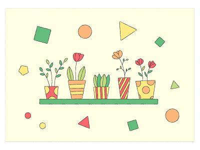 Houseplants vector illustration vector texture geometric flowers houseplants illustration vector