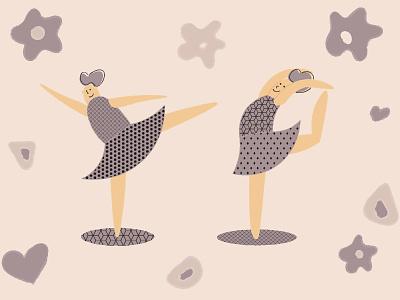 Ballet dancers vector illustration dance purple vector art ballerina ballet illustration vector