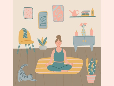 Young woman sitting in yoga posture and meditating at home vector illustration living room meditation yoga