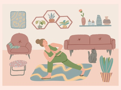 Woman standing in yoga posture at home healthy lifestyle interior vector art character design yoga illustration vector