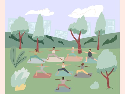 Yoga in park character design people park yoga vector illustration vector
