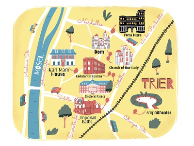 City map. Trier buildings city guide germany map city illustration vector