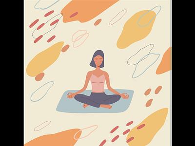 Meditation character abstract shapes yoga pose yoga illustration vector
