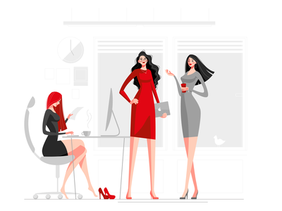 office womans office design girl vector illustration