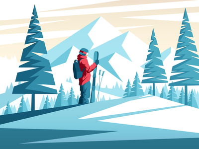 mountains mountains skier ski vector illustration