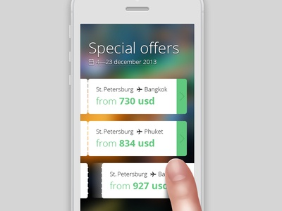 Flights special offers mobile concept