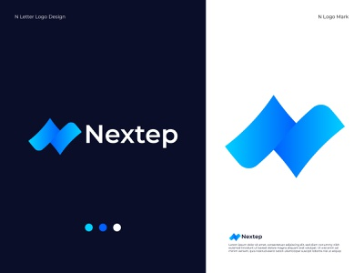 Nextep - N letter logo mark logo2020 creative logo graphic design modern logo identity lettering n logo n letter logo mark business logo app illustration brand identity minimal logotype typography logo concept logo design branding