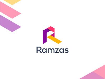 Ramzas Logo Design - R Letter Logo web business logo logo 2022 corporate logo agency ramzas modern lettering letter logo r letter r logo 3d graphic design ui illustration branding design brand identity logo branding logo design
