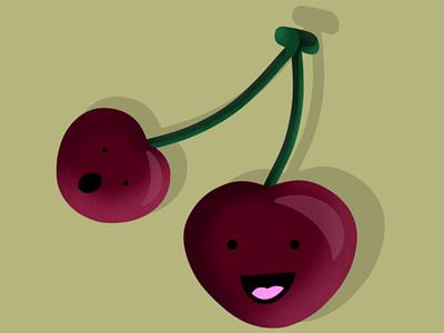 CHERRY shadow food cherry artistic artwork art illustration funny procreateapp procreate fruits