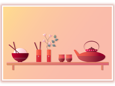 MIDDAY MEAL culture drawing yellow red colors warm fresh digitalpainting digitalillustration food illustration digitalgraphic graphic light gradient chinese china vector affinitydesigner affinity