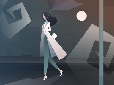 MIDNIGHT WALK design project city concept illustrations illustrator art night woman woman illustration illustrator affinity designer digitalart poster art graphicdesign graphic picture illustration artwork digitalgraphic