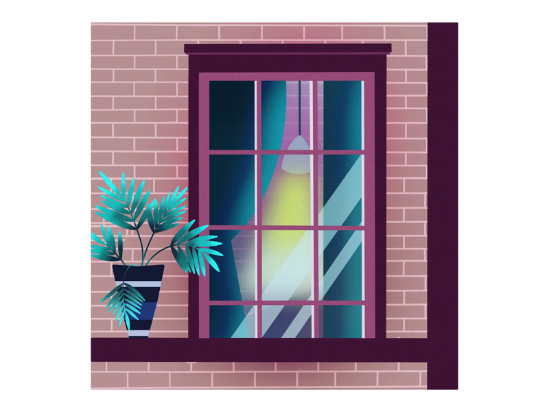 W E L C O M E H O M E picture artwork art graphicdesign digitalgraphic graphic digitalillustration illustration digitalartwork digitalart outside lamp curtains window palm palmtree tree light procreate home