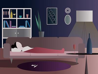 Night shapes digital graphic digital illustrating picture illustration vector light cozy night home affinity designer design graphic affinity