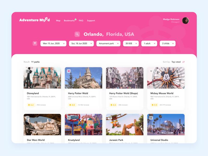 "Amusement park ""Adventure Mood"" - Search adventure ui design entertainment train search web ui fun design amusement park concept"