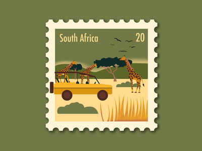South Africa Stamp flat postage stamp safari travel south africa stamp procreate photoshop illustration
