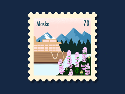 Alaska Stamp design mountains landscape nature photoshop vector alaska postage stamp procreate illustration
