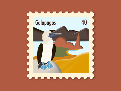 Galapagos Stamp minimal island galapagos nature birds design photoshop procreate illustrator postage stamp illustration