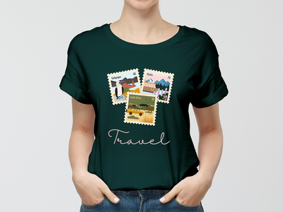 Travel T-shirt design nature cities travel adobe product procreate illustrator illustraion mockup t-shirt