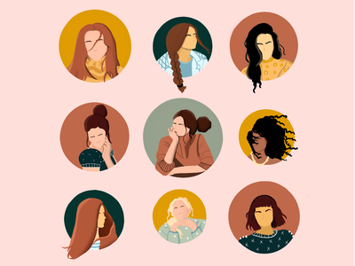 Women life women empowerment women hair thinking procreate minimal photoshop illustrator illustration woman