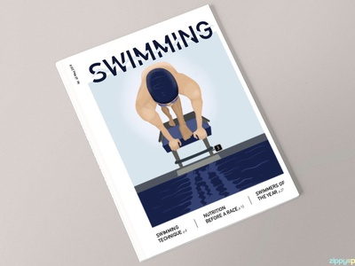 Swimming- Magazine Cover minimal swimming magazine ad mock up design procreate illustration magazine design magazine cover