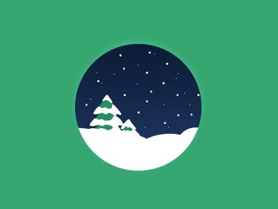 Christmas round green tree night winter snow christmas icon illustration