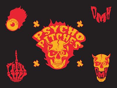 DMH Psycho Pitches logo typography vector illustration design branding