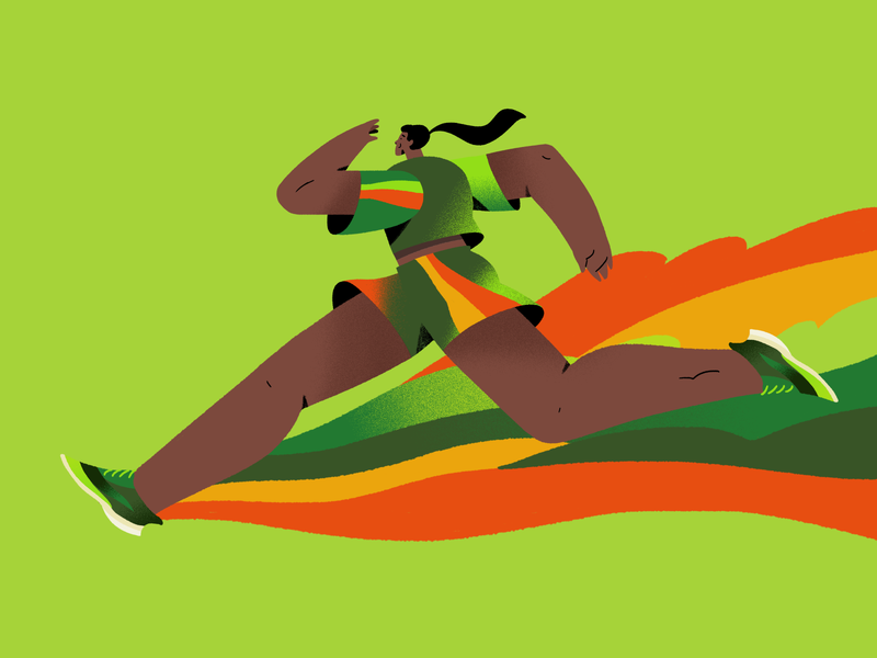 Runner green sports run physical fit photoshop adobe character illustration