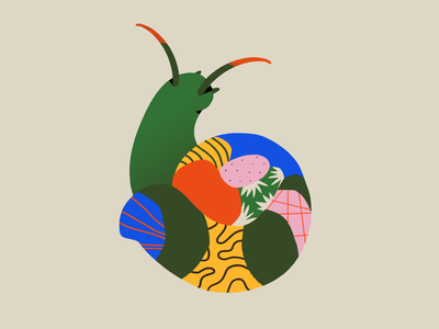 Caracol summer plants nature abstract shapes textures illustration