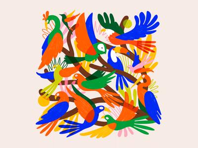 Passáros natural tropical tree birds shapes textures illustration