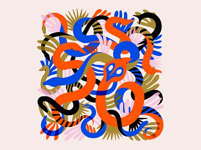 Snakes plants snake nature minimalist abstract textures illustration