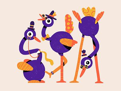 Fancy Birds tie birds glasses hat purple textures design illustration