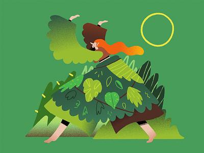 Druid forest plants leaf nature character shapes illustration textures