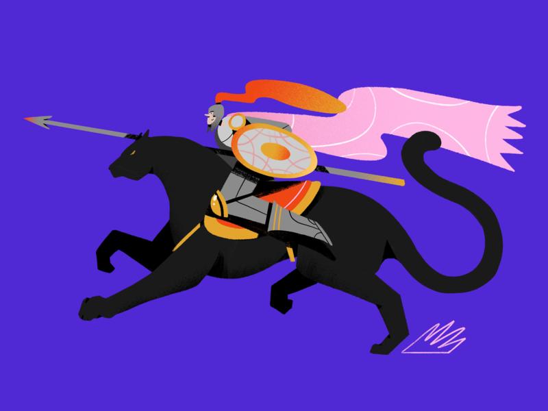 Panter Knight shield panter character illustration textures