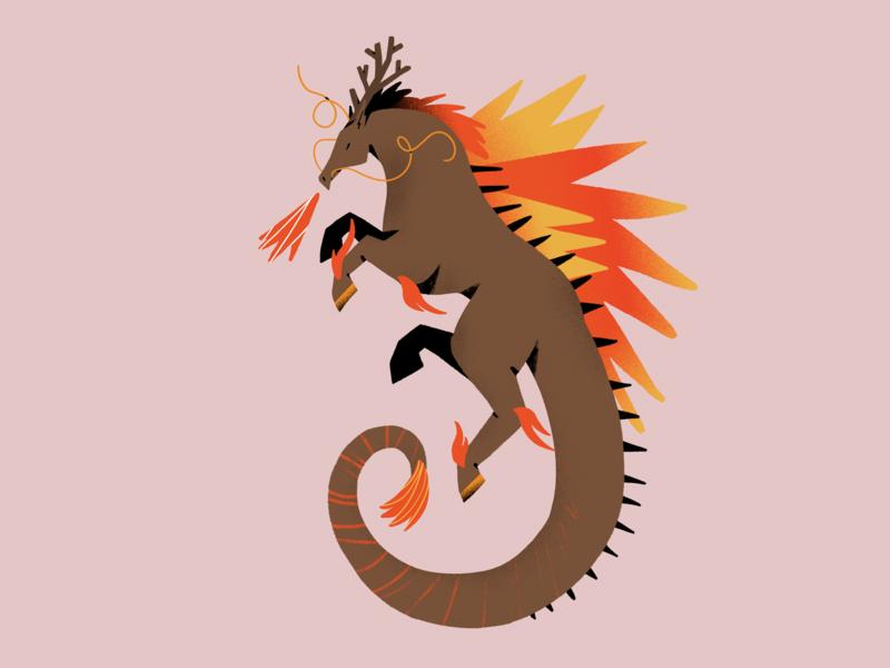 Kirin legend mith japan dragon horse shapes illustration textures