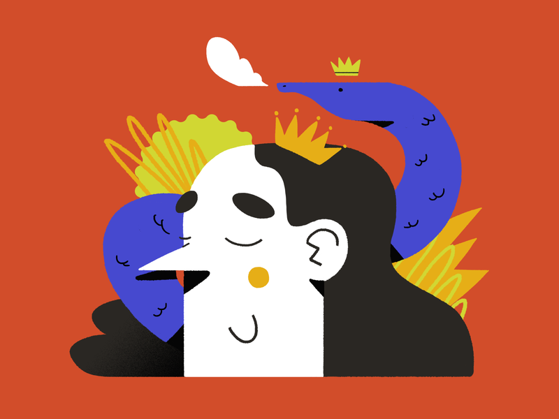 Smoking Snake and the king nature plants shapes textures character abstract king smoke illustration