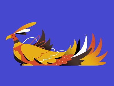 The Fenix bird fire adobe character shapes illustration textures mithology mith legend