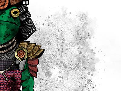 Samurai Frog Character Design samurai artwork character design ai vector illustration vector art design branding art