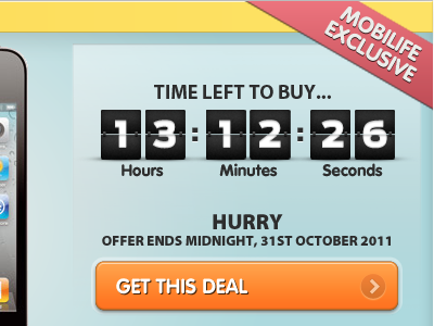 Time to buy... mobile iphone website affiliate cta countdown