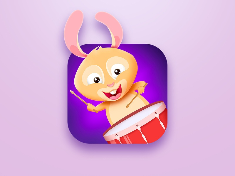 Rabbit drumme ios icon drums drummer character animals rabbit illustration music icon apple store app design app